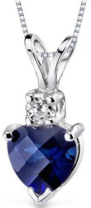Oravo 1.00 Carat Heart-Shape Created Blue Sapphire and Diamond Accent 14kt White Gold Pendant, 18""