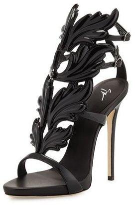 Giuseppe Zanotti Coline Wings Patent High-Heel Sandal, Nero $1,595 thestylecure.com