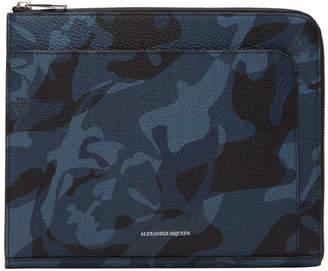 Alexander McQueen Blue Camo Small Zip Pouch