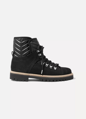 Ganni Suede And Quilted-canvas Ankle Boots - Black