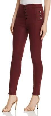 J Brand Natasha Sky High Skinny Jeans in Coated Oxblood