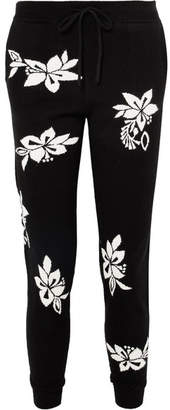 Chinti and Parker Hibiscus Cashmere Track Pants - Black