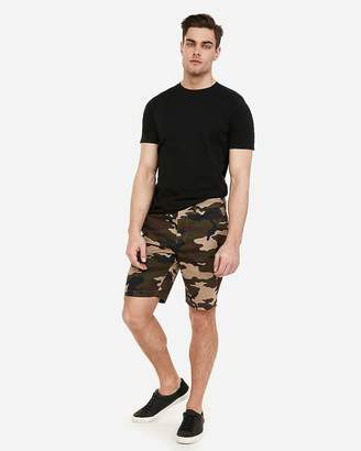 Express Slim 9 Inch Camo Flat Front Hyper Stretch Shorts