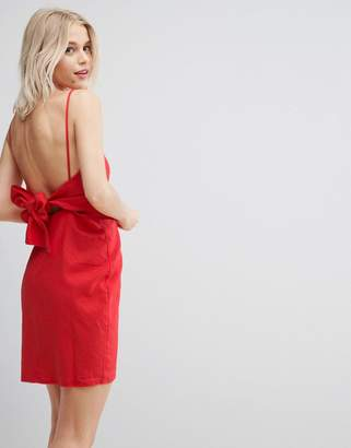 Asos DESIGN Tie Back Mini Sundress in Linen