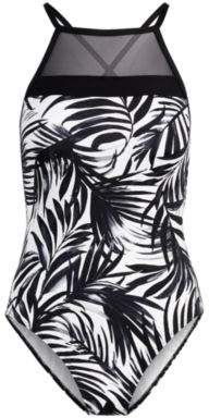 Ralph Lauren Palm-Print One-Piece Swimsuit Black And White 4