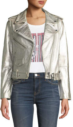 Current/Elliott The Shaina Metallic Leather Biker Jacket