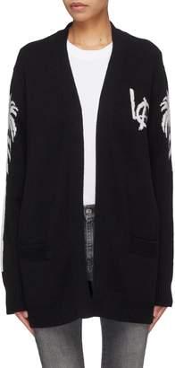 ADAPTATION 'LA' slogan graphic intarsia cashmere open cardigan