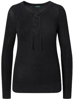 Ralph Lauren Cotton-Blend Lace-Up Sweater $99.50 thestylecure.com