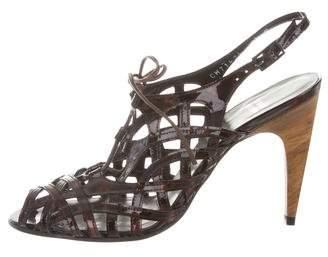 Stuart Weitzman Patent Leather Cage Sandals