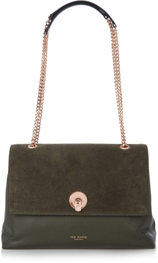 Ted Baker Sophina suede circle lock shoulder bag - ShopStyle Satchels