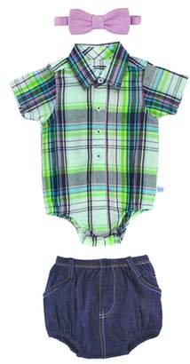 RuggedButts Christopher Plaid Bodysuit, Shorts & Bow Tie Set