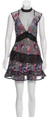 Self-Portrait Sheer Mesh Overlay Floral Dress