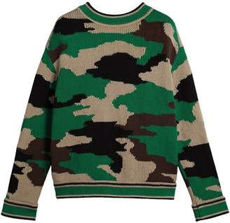 Burberry Camouflage Intarsia Cotton V-neck Sweater