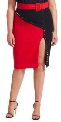 Fausto Puglisi Marina Rinaldi, Plus Size x Marina Rinaldi Chimera Wool Crepe Studded Skirt