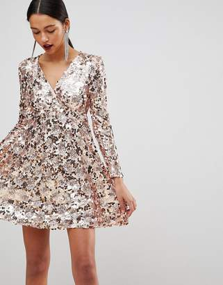 Club L Rose Gold Mini Disc Sequins Wrap Over Skater Dress