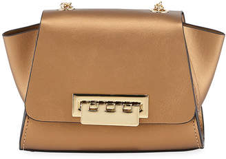 Zac Posen Eartha Mini Metallic Leather Chain Crossbody Bag, Rust/Copper