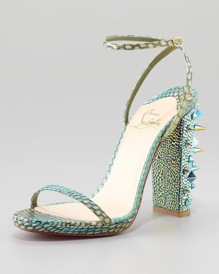 Christian Louboutin Au Palace Spike-Heel Snakeskin Sandal