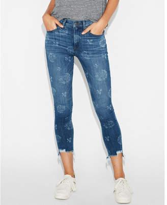 Express high waisted print raw hem stretch cropped jean leggings
