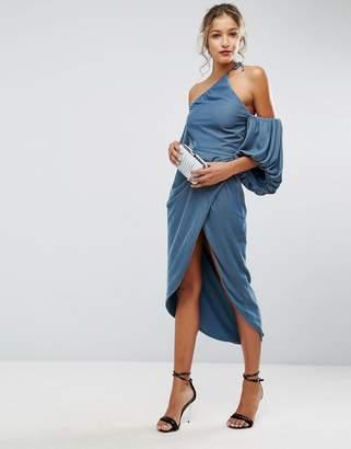 Asos Design One Shoulder Velvet Drape Midi Dress