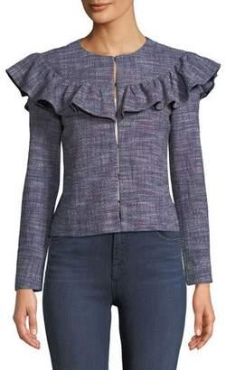 Rebecca Taylor Tweed Long-Sleeve Ruffle Jacket