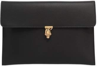 Alexander McQueen Leather Envelope Clutch W/ Skull
