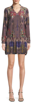Tolani Rory V-Neck Mixed-Print Flounce-Hem Floral-Print Silk Tunic Dress, Plus Size