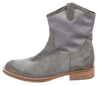 Brunello Cucinelli Suede Round-Toe Ankle Boots
