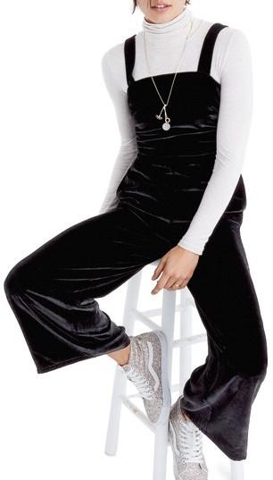 Women's Madewell Crushed Velvet Wide Leg Jumpsuit