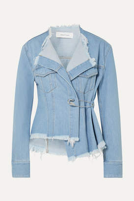 Marques Almeida Marques' Almeida - Asymmetric Frayed Denim Jacket - Mid denim