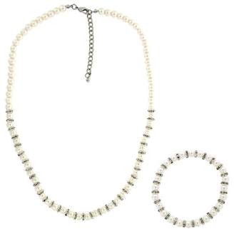 Ralph Lauren Lee Jewellery-Set Consists of Glass Pearl with Crystal Rhondel Necklace and Stretch Bracelet Set 46 cm + extender 10 cm