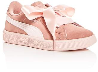 Puma Girls' Heart Jewel Suede Lace Up Sneakers - Toddler, Little Kid