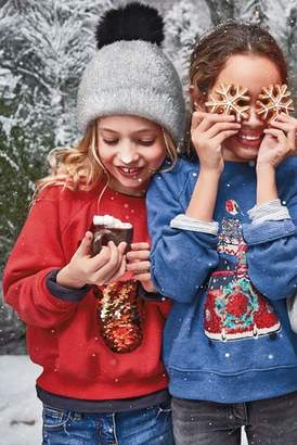 Next Girls Red Christmas Flippy Sequin Reindeer Crew (3-16yrs)