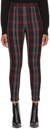 Alexander Wang Grey and Red Plaid Fitted Zip Leggings