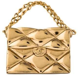 Chanel Quilted Handbag Brooch Gold Chanel Quilted Handbag Brooch