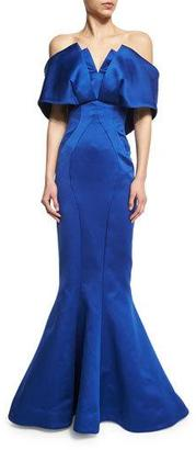 Zac Posen Off-the-Shoulder Mermaid Gown, Royal Blue $5,990 thestylecure.com