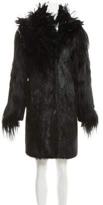 Maison Margiela 2007 Feather-Trimmed Fur Coat