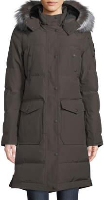 Moose Knuckles Salmon River Long Parka Coat w/ Removable Fur Hood
