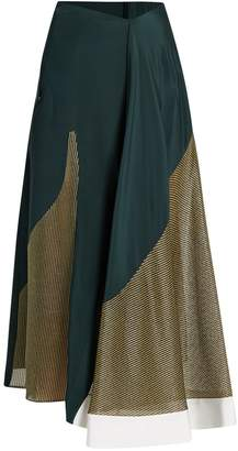 Esteban Cortazar Lamé-panelled silk-crepe skirt