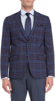 Ben Sherman Blue & Red Plaid Wool Blend suit Jacket
