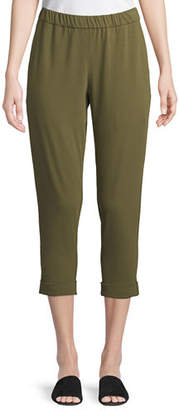 Eileen Fisher Slim Organic Cotton Jersey Cropped Pants
