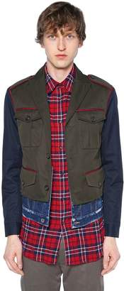 DSQUARED2 Cotton Twill Military Jacket W/Denim Hem