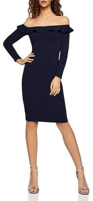 BCBGeneration Ruffled Off-the-Shoulder Dress