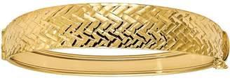 Italian Gold Basket-Weave Textured Hinged Bangle 14K, 11.7g