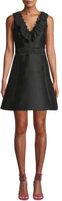 Kate Spade Lace Mikado Ruffle Mini Dress