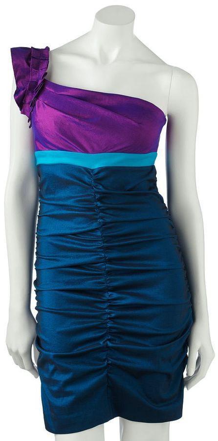 Hailey logan colorblock asymmetrical dress - juniors