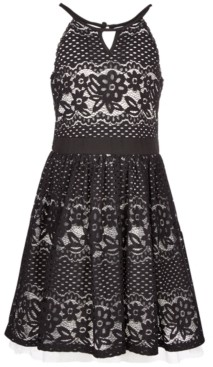 Sequin Hearts Big Girls Cut Out Lace Skater Dress, Created for Macy's