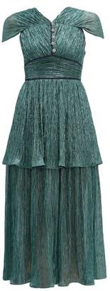 Peter Pilotto Tiered Plisse Lame Midi Dress - Womens - Green