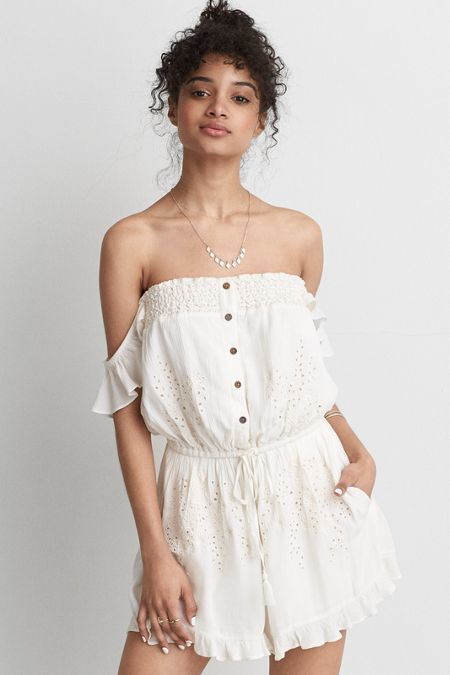 American Eagle Outfitters AE Off-The-Shoulder Eyelet Romper