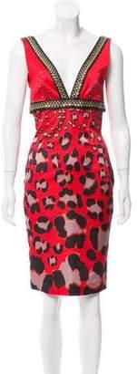 Just Cavalli Sleeveless Leopard Print Dress