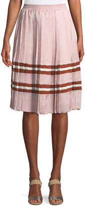 Endless Rose Pleated Satin Striped Midi Skirt